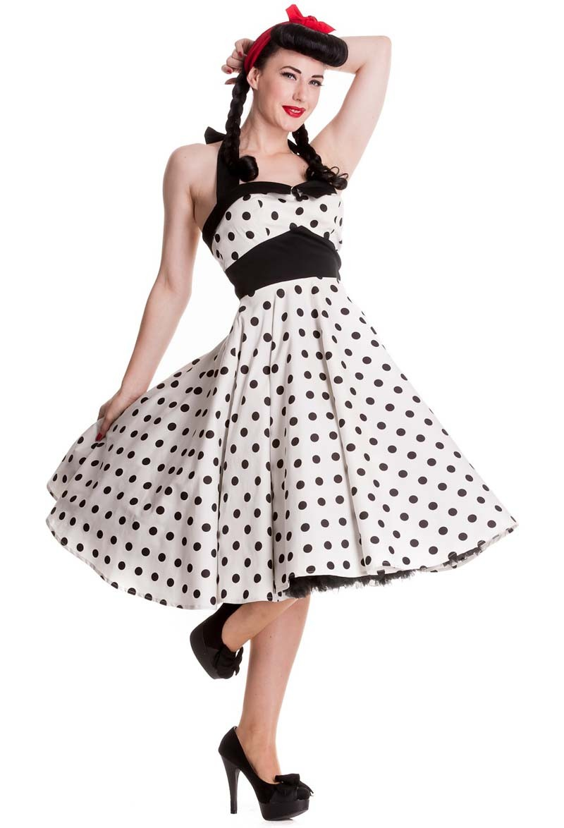 hellbunny adelaide 50er jahre retro polka dots neckholder swing kleid rockabilly ebay. Black Bedroom Furniture Sets. Home Design Ideas