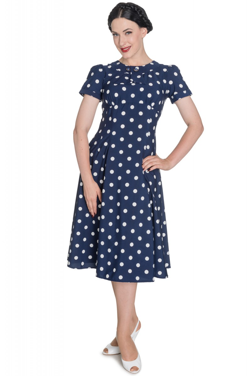 hell bunny madden 40er years retro polka dots dress rockabilly pin up ebay. Black Bedroom Furniture Sets. Home Design Ideas