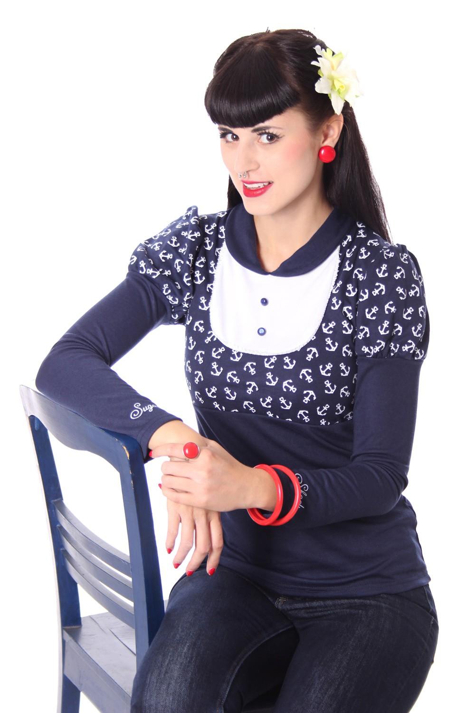 SugarShock ROXI Anker Sailor retro Pin Up Bubikragen Rockabilly Longsleeve Shirt