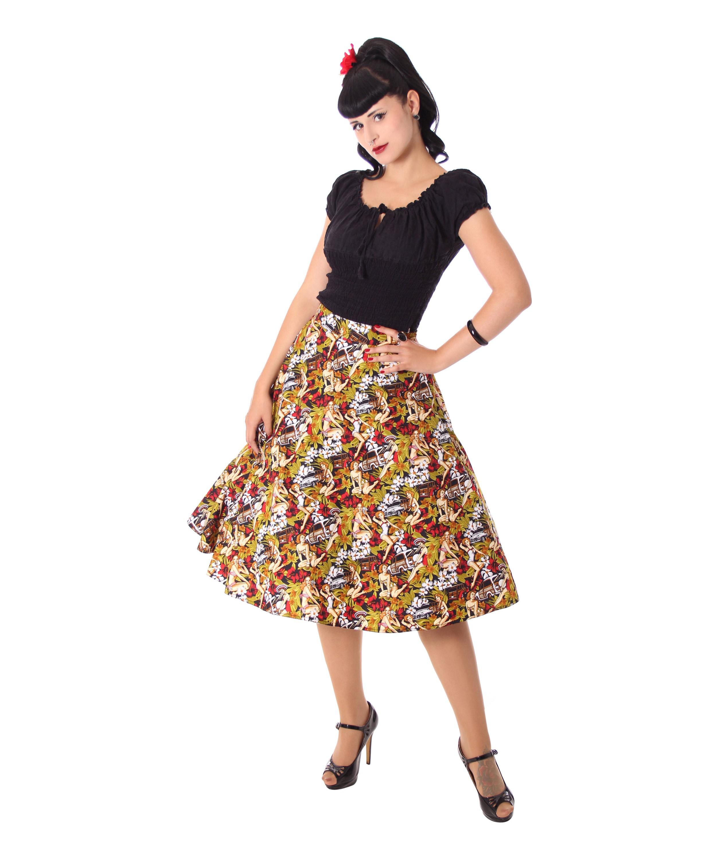 Kanaia Pin Up Hawaii Blüten Tellerrock Petticoat Rock v
