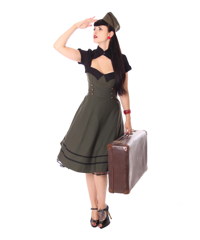 sugarshock harbor 40er retro military swing uniform petticoat bolero dress ebay. Black Bedroom Furniture Sets. Home Design Ideas