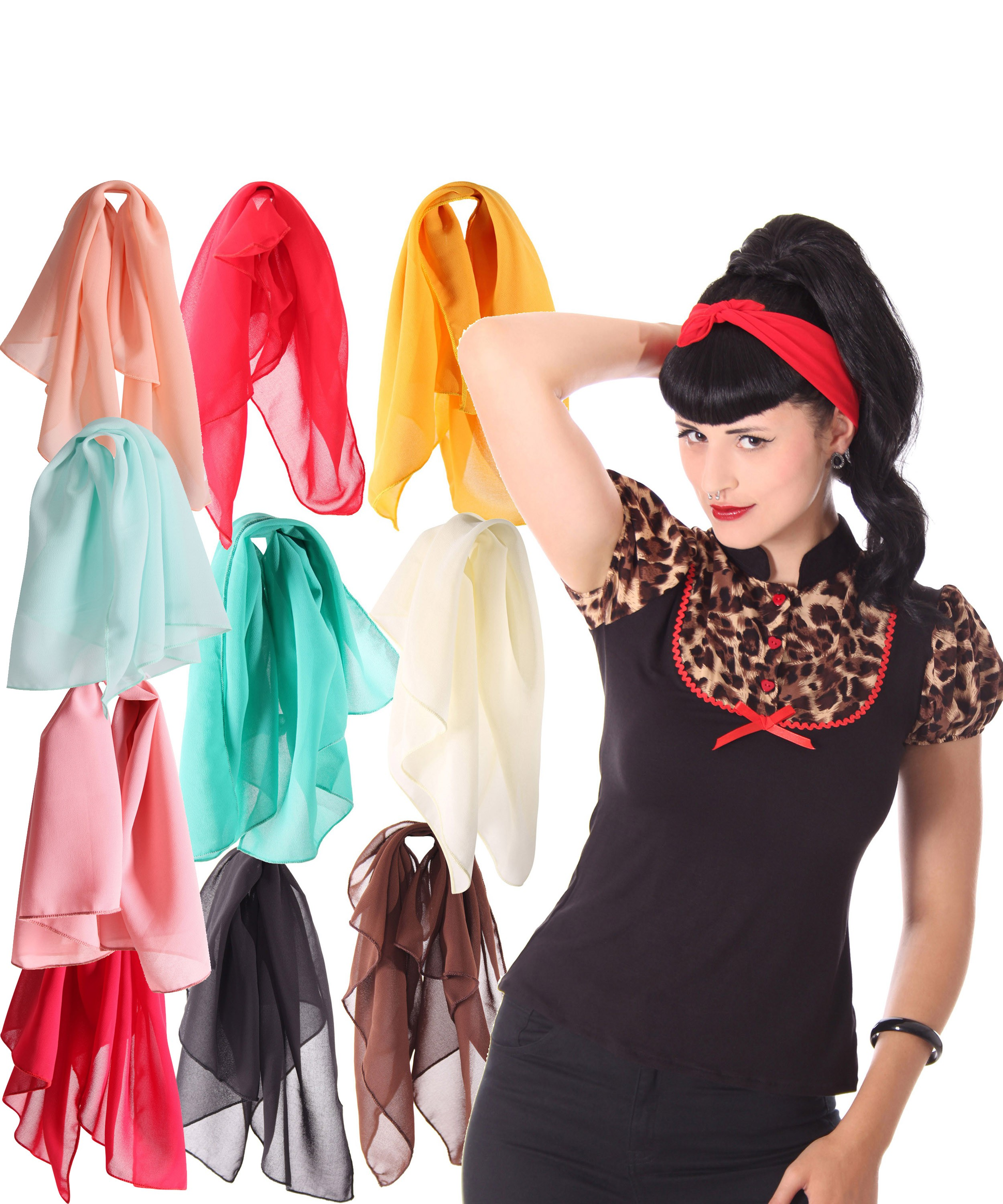 50s retro chiffon haarband pin up rockabilly hairband. Black Bedroom Furniture Sets. Home Design Ideas