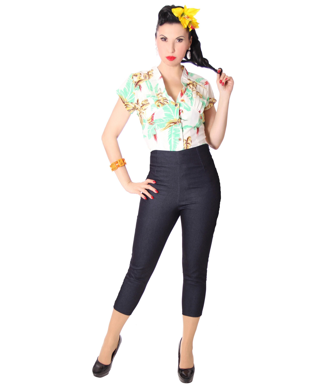 sugarshock amy 50er denim rockabilly high waist caprihose capri jeans 3 4 hose ebay. Black Bedroom Furniture Sets. Home Design Ideas