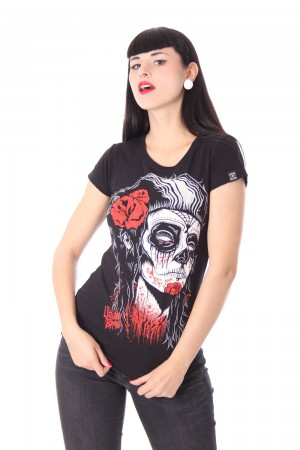 DEAD GIRL Girl Tattoo T-Shirt v. Liquor Brand – Bild 2