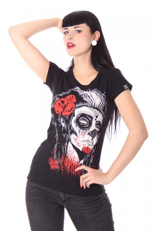 DEAD GIRL Girl Tattoo T-Shirt v. Liquor Brand – Bild 1