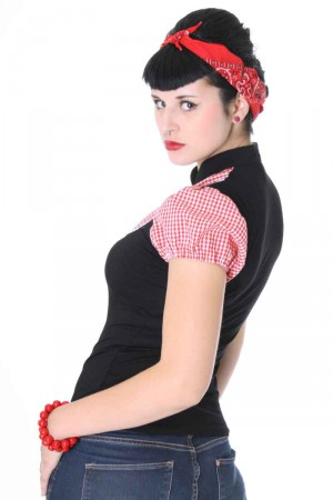 ALINA Pin Up retro Gingham T-Shirt v. SugarShock – Bild 3
