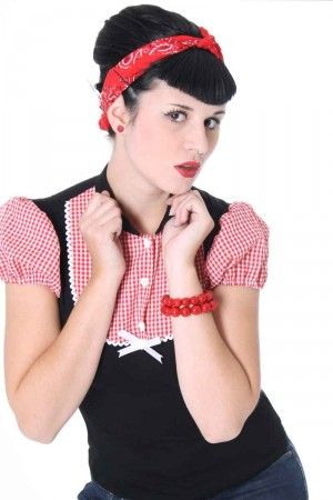ALINA Pin Up retro Gingham T-Shirt v. SugarShock – Bild 4