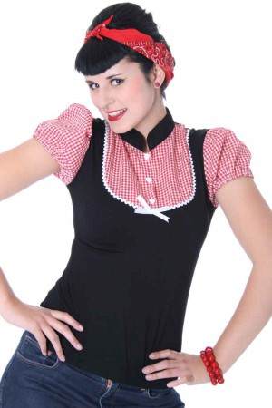 ALINA Pin Up retro Gingham T-Shirt v. SugarShock – Bild 5