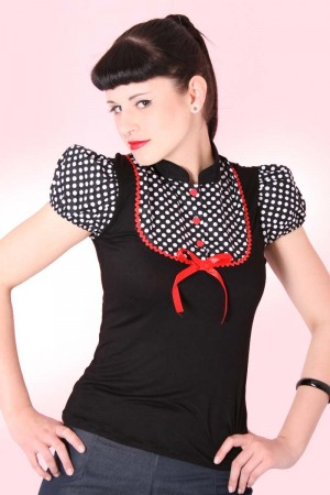 JUDY Pin Up retro Polka Dots T-Shirt v. SugarShock – Bild 4