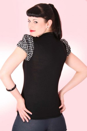JUDY Pin Up retro Polka Dots T-Shirt v. SugarShock – Bild 2