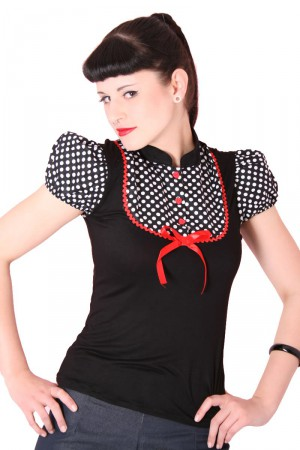 JUDY Pin Up retro Polka Dots T-Shirt v. SugarShock – Bild 1