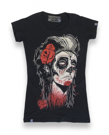 DEAD GIRL Girl Tattoo T-Shirt v. Liquor Brand – Bild 4