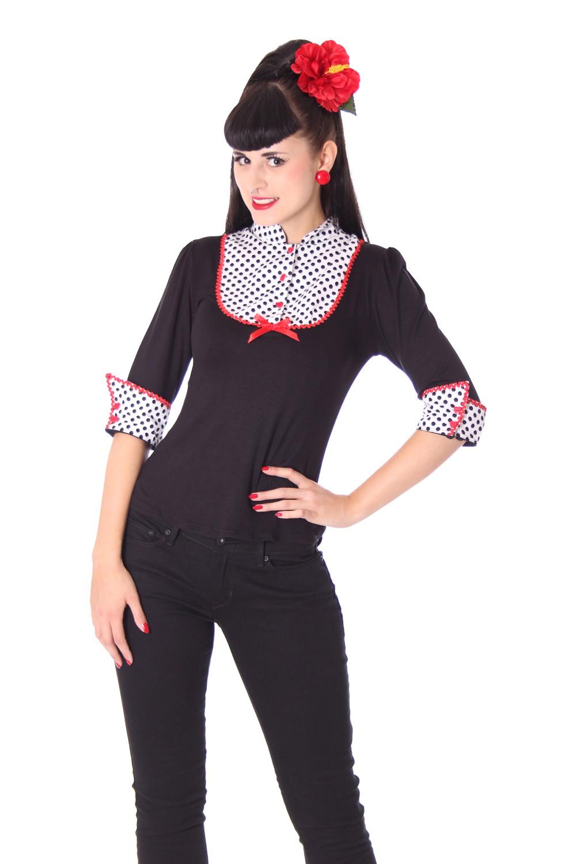 leni retro polka dots longsleeve 3 4 arm shirt v sugarshock frauen longsleeves kapuzenpullis. Black Bedroom Furniture Sets. Home Design Ideas
