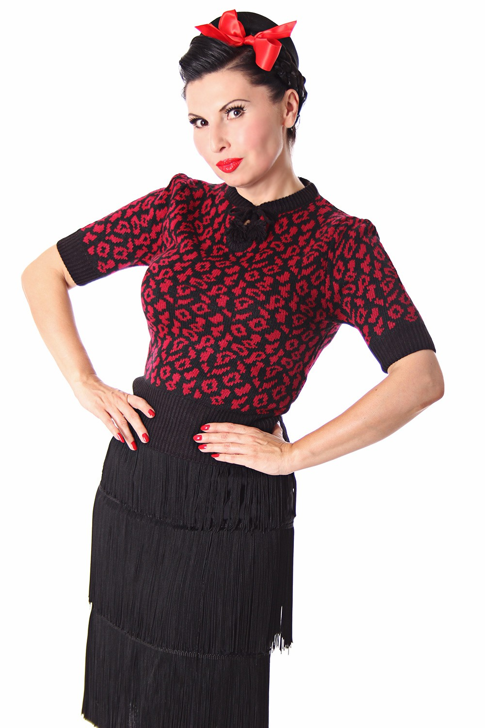 francesca 50s retro rockabilly leoparden jumper strick shirt v sugarshock frauen retro. Black Bedroom Furniture Sets. Home Design Ideas